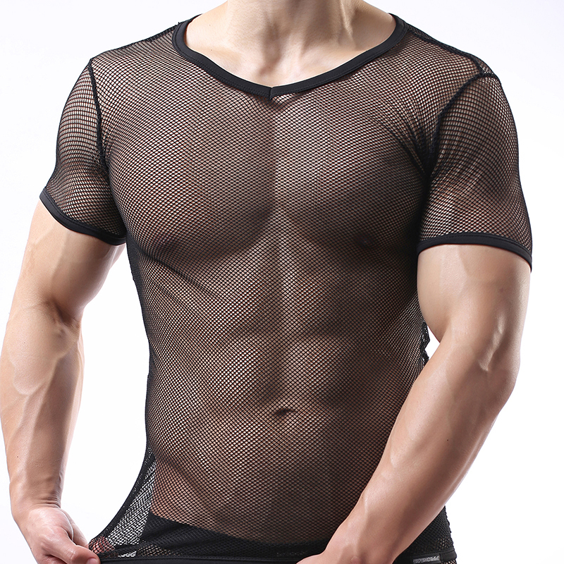 014639e8 Fashion Brand Solid Grid Mesh Men Sexy See Inner Fitness T shirts Lingerie / Gay Addicted Short Sleeves Shirts